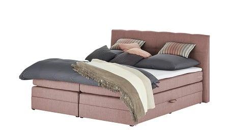 uno Boxspringbett mit Bettkasten Saranda 180×200 cm in Pastellrosa